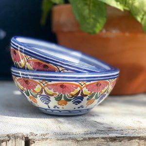 Vintage Hand painted floral Pottery Bowls